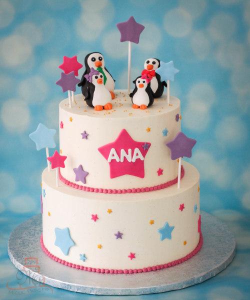 Tort botez pinguini