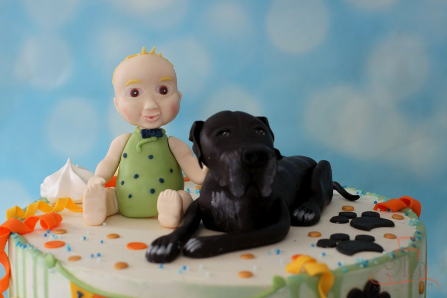 Tort personalizat bebe si catel