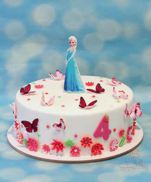Tort cu Elsa, flori si fluturi-M