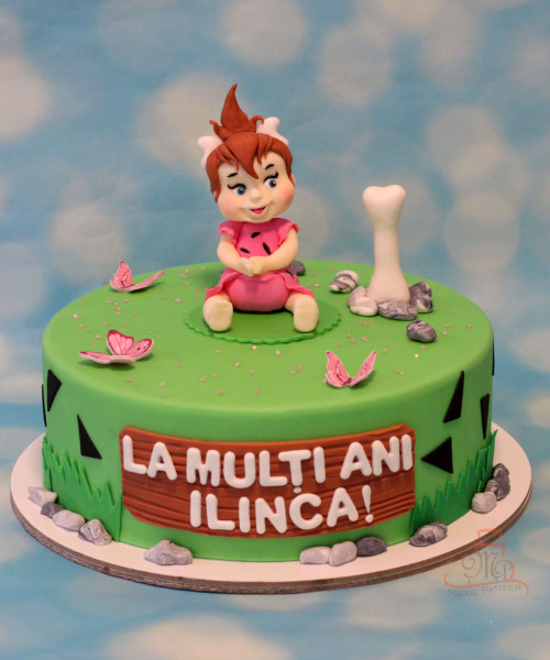 Tort cu figurina modelata Pebbles Flintstone