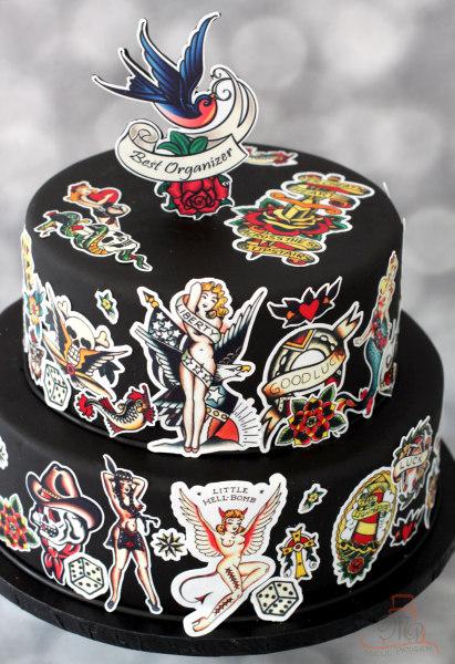 Tort cu tatuaje flash traditional